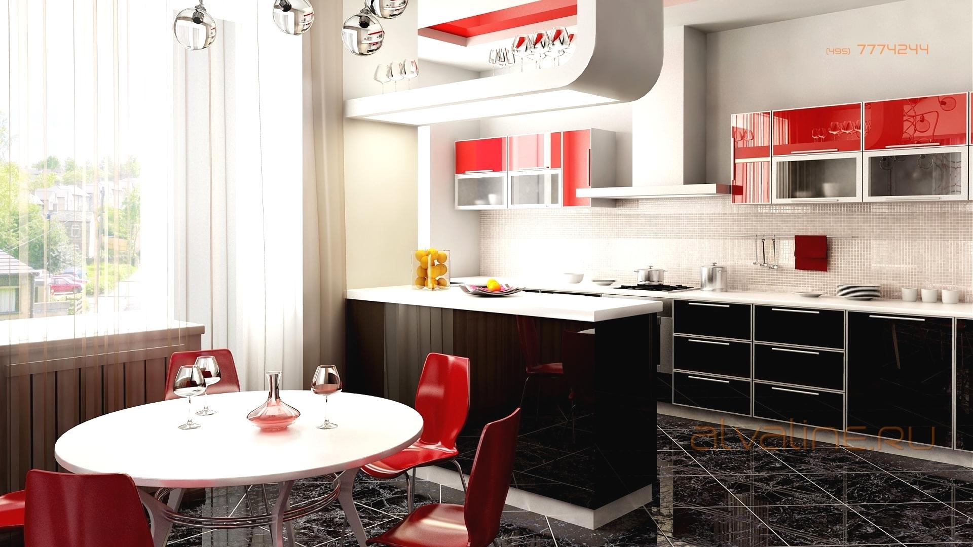 Интерьер кухни в красном стиле фото